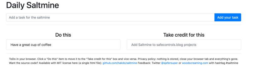 Screenshot of Saltine todo list